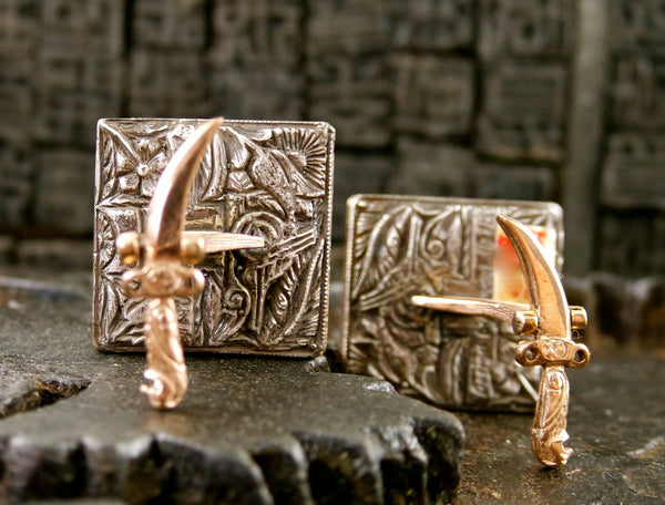 Sevan Bicacki Hand Painted Cufflinks in 18/22K Gold and Sterling Silver
