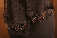 Erickson Beamon Crystal Embellished Lace Long Scarf