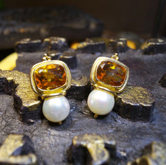 Estate 18K Yellow Gold,  Madeira Citrine, and Pearl Earring