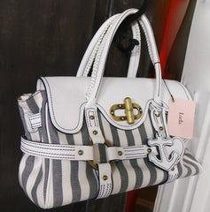 "Luella ""Stevie"" Canvas Striped and Leather Handbag"