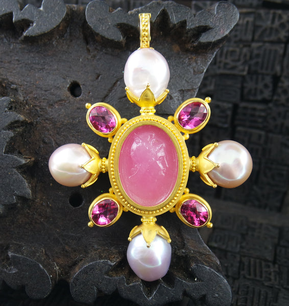 Carolyn Tyler 22K Yellow Gold/Pink Tourmaline/Venetian Glass and Pearl Pendant