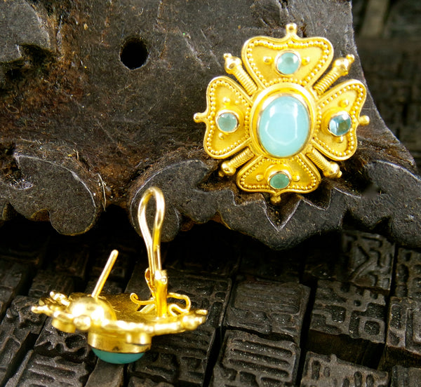 Carolyn Tyler 22K Yellow Gold and Peruvian Opal Earrings