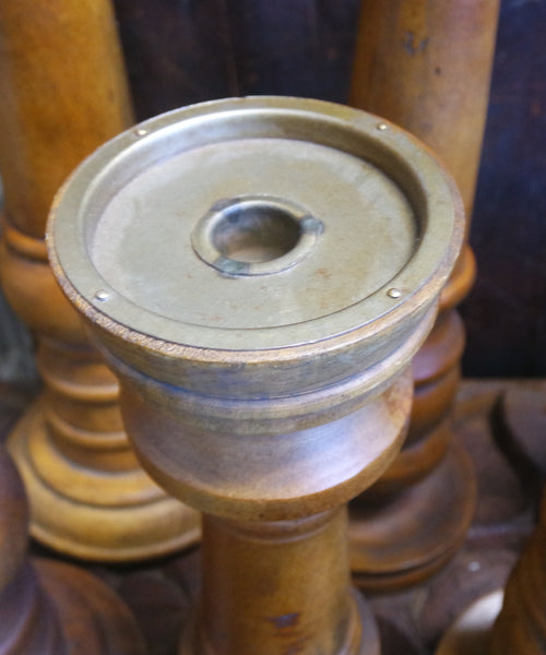 Two's Company Set of Three Turned Wooden Candlesticks