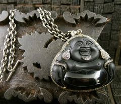 Jolie Altman Carved Obsidian Buddha Necklace in Sterling, 18K Gold, and Diamonds. One of a Kind