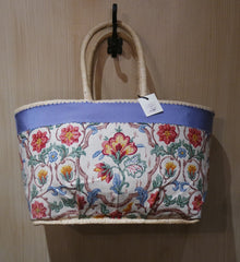 English Floral Straw Tote Bag- One-of-a-Kind