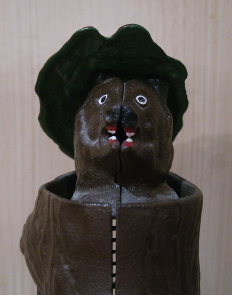 "Vintage Collectible ""Teddy and the Bear"" Mechanical Bank"