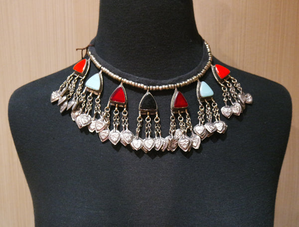 Kuchi Tribe Gypsy Necklace with Colored Stones