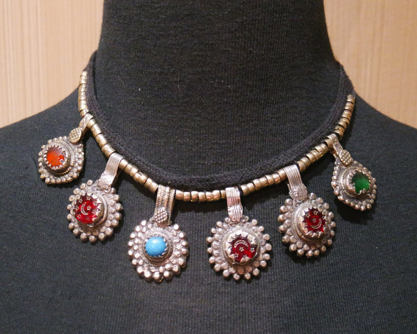 Kuchi Tribe Gypsy Necklace with Multi Colored Charms