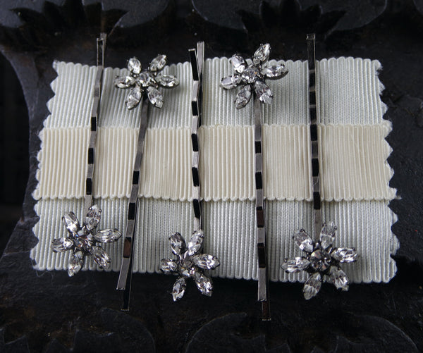 Jennifer Behr Set of Five Blossom Crystal Bobby Pins in Gunmetal Finish
