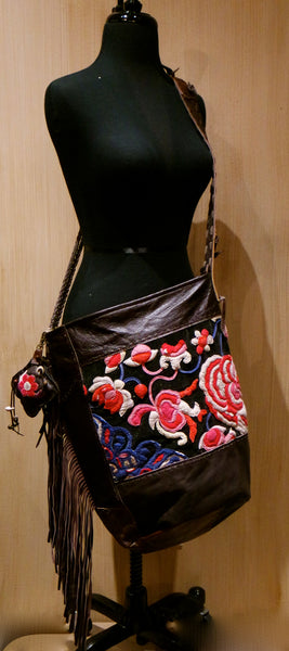J.P. and Mattie Bohemian Tribal Fabric Shoulderbag with Leather Fringe- One of a Kind