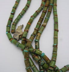 Southwestern Green Turquoise 6 Strand Necklace with Sterling Beads
