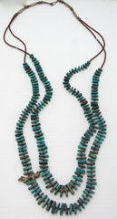 Southwestern Turquoise and Silver Two Strand Necklace with Heishi, and Fetish