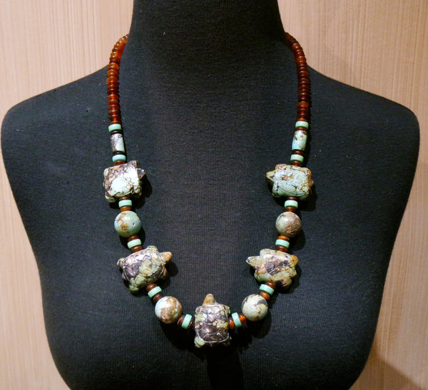 Chinese Turquoise Necklace with Carved Turtle Fetishes and Amber Beads