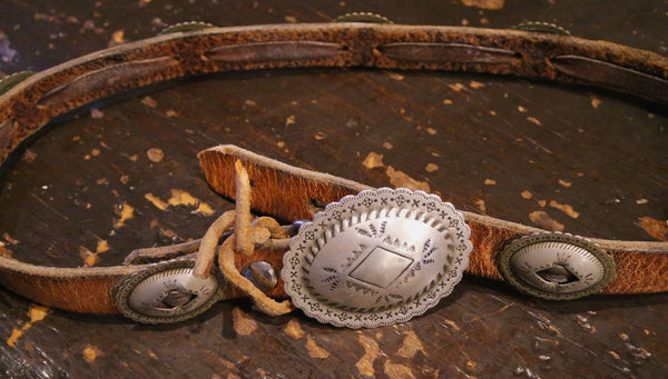 Southwestern Silver and Leather Children's Concha Belt or Hatband