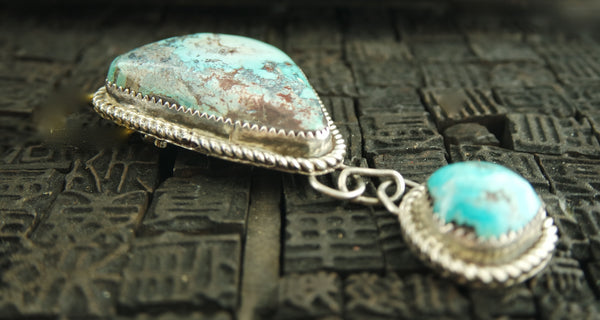 Vintage Native American Navajo Pin in Silver and Turquoise