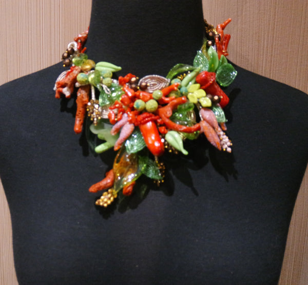 One of a Kind Venetian Glass, Coral, and Bead Necklace