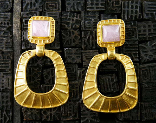 Julie Vos Escala Gold Statement Chandelier Earring in Pink