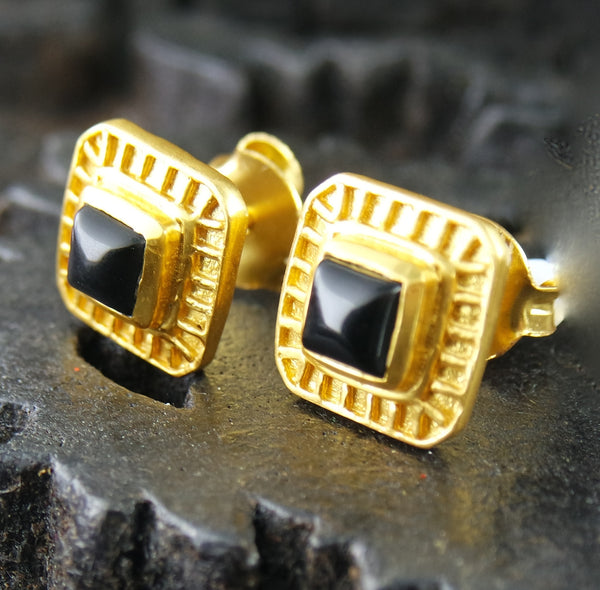 Julie Vos Petite Escala Stud Earring in Black Onyx