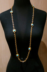 Julie Vos Escala Gold and Turquoise Station Necklace