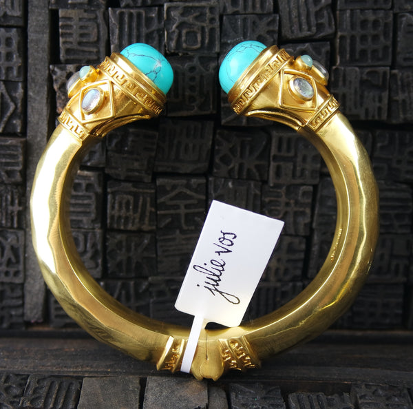 Julie Vos Greek Key Gold And Turquoise Cuff Bracelet With