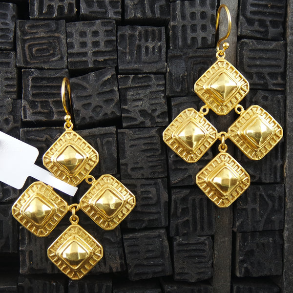 Julie Vos Gold Escala Chandelier Earrings