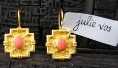 Julie Vos Imperial Gold Earrings in Orange Coral