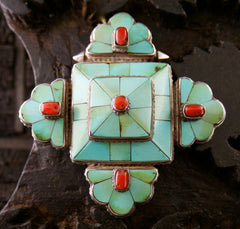 Tribal Gypsy Silver Pendant with Turquoise and Coral