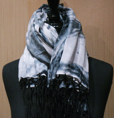 Elizabeth Gillett Abstract Wave Fringed Shawl/Scarf