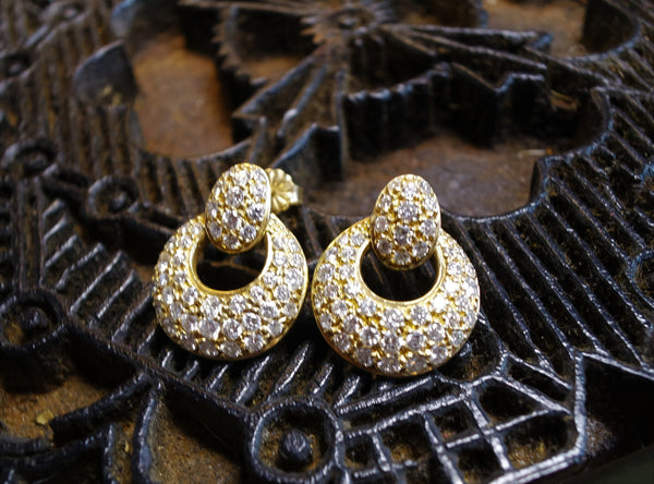Estate 18K Yellow Gold and Brilliant Cut Diamond Pave Door-knocker Earrings