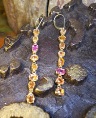 CHURCHILL Private Label Orange and Pink Sapphire Drop Earrings in 18K Yellow Gold