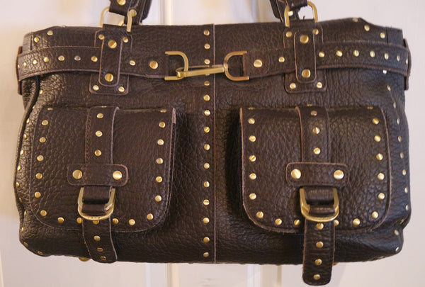 Rafe Studded Brown Leather Bag