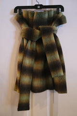 James Coviello Olive/Brown Ruched Plaid Skirt