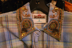 And Cake Embellished Plaid Shirt - Blue
