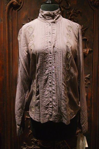 Pete & Greta High Neck Embroidered Blouse
