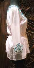 OM White Silk Top with Beaded Yoke