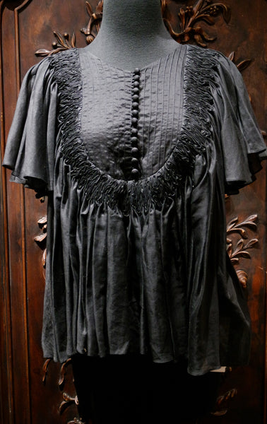 Grey Smock Top with Bell Sleeves in Black