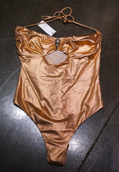 Vivia Copper Metallic One Piece Swimsuit