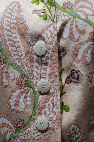 Quadrille Silk Jacket in Rose Fern Print