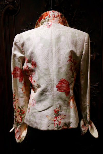 Quadrille Custom Silk Jacket with Dutch Tulip Design