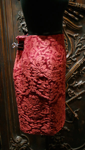 Quadrille Silk Damask Straight Skirt