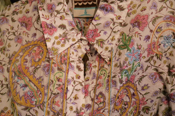 And Cake Pink Floral Shirt with Paisley Embroidery