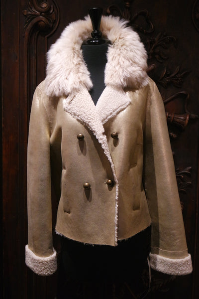 Sprung Freres Gold Nappa Leather/Shearling Jacket