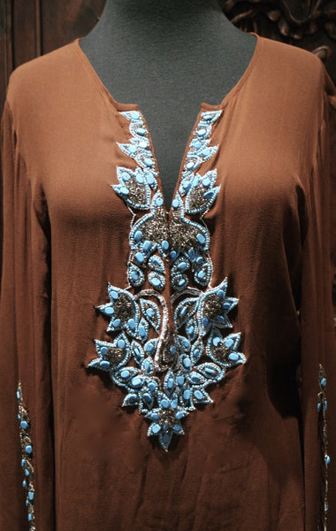 INCA - Brown Cover Up with Turquoise Beading