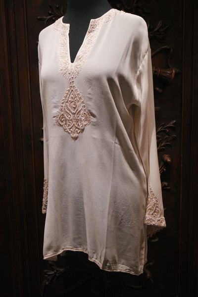 Tanja Pignatelli Silk Embellished Tunic Top