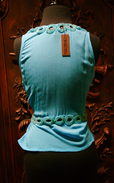 Tanja Pignatelli Turquoise Camisole Shirt with Green Beaded Neckline