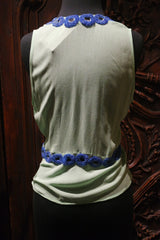 Tanja Pignatelli Green Cami Shirt with Blue Beaded Neckline
