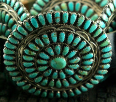 Old Pawn Navajo Silver and Turquoise Concho Belt