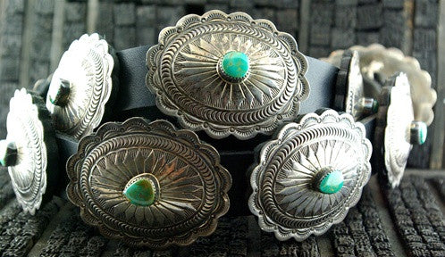 Southwestern Pawn Silver and Turquoise Oval Concho Belt