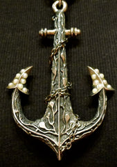 Ugo Cacciatore Sterling Silver, Pearl, and Red Tourmaline Anchor Necklace