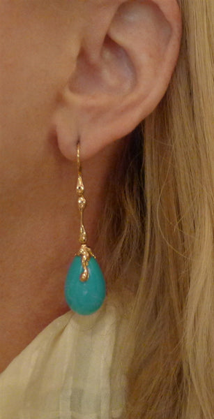 Lucifer Vir Honestus 18K Rose Gold and Turquoise Drop Earrings